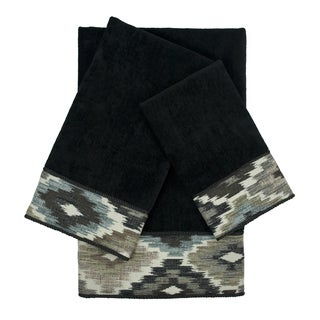 Sherry Kline Maricopa Black 3-piece Embellished Towel Set
