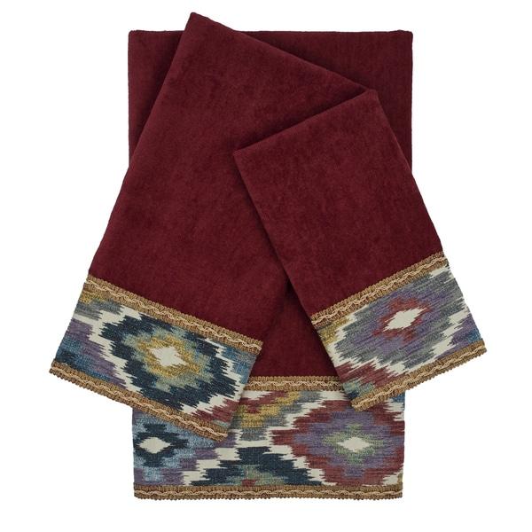 Sherry Kline Maricopa Red 3-piece Embellished Towel Set