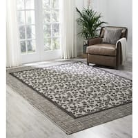 Nourison Garden Party Ivory/Charcoal Indoor/Outdoor Area Rug - 7'10 x 10'6