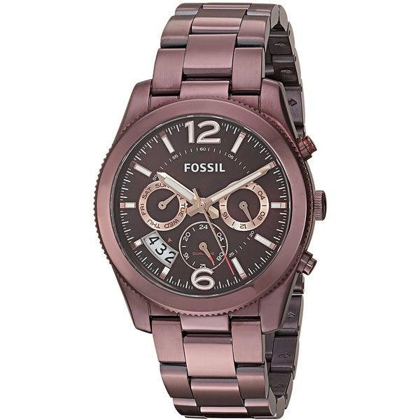 Fossil Women's Perfect Boyfriend Multifunction Wine Dial Steel Watch