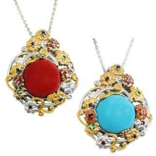 Michael Valitutti Palladium Silver Reconstituted Red Coral or Turquoise & Multi Gemstone Pendant