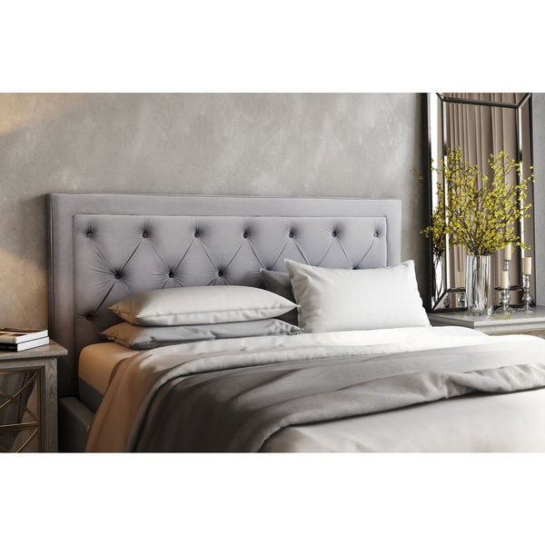 shop nacht metal and grey velvet upholstery diamond button tufted king size headboard free. Black Bedroom Furniture Sets. Home Design Ideas