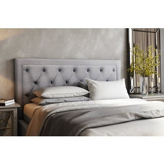 Nacht Metal and Grey Velvet Upholstery Diamond-button-tufted King-size Headboard