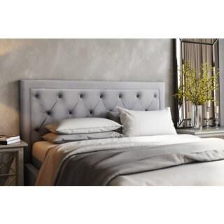 nacht metal and grey velvet upholstery kingsize headboard