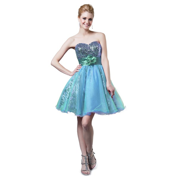 Shop DFI Women s Short Strapless Cocktail Dress with Sequin Top - Free  Shipping Today - Overstock - 16536312 2d59ea32b594