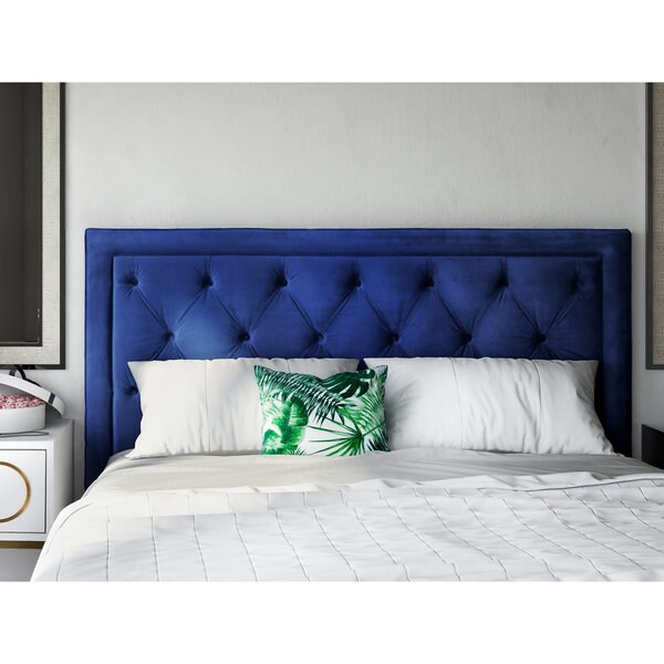 large navy headboard for stylish double blue velvet white tufted covers bedding twin image