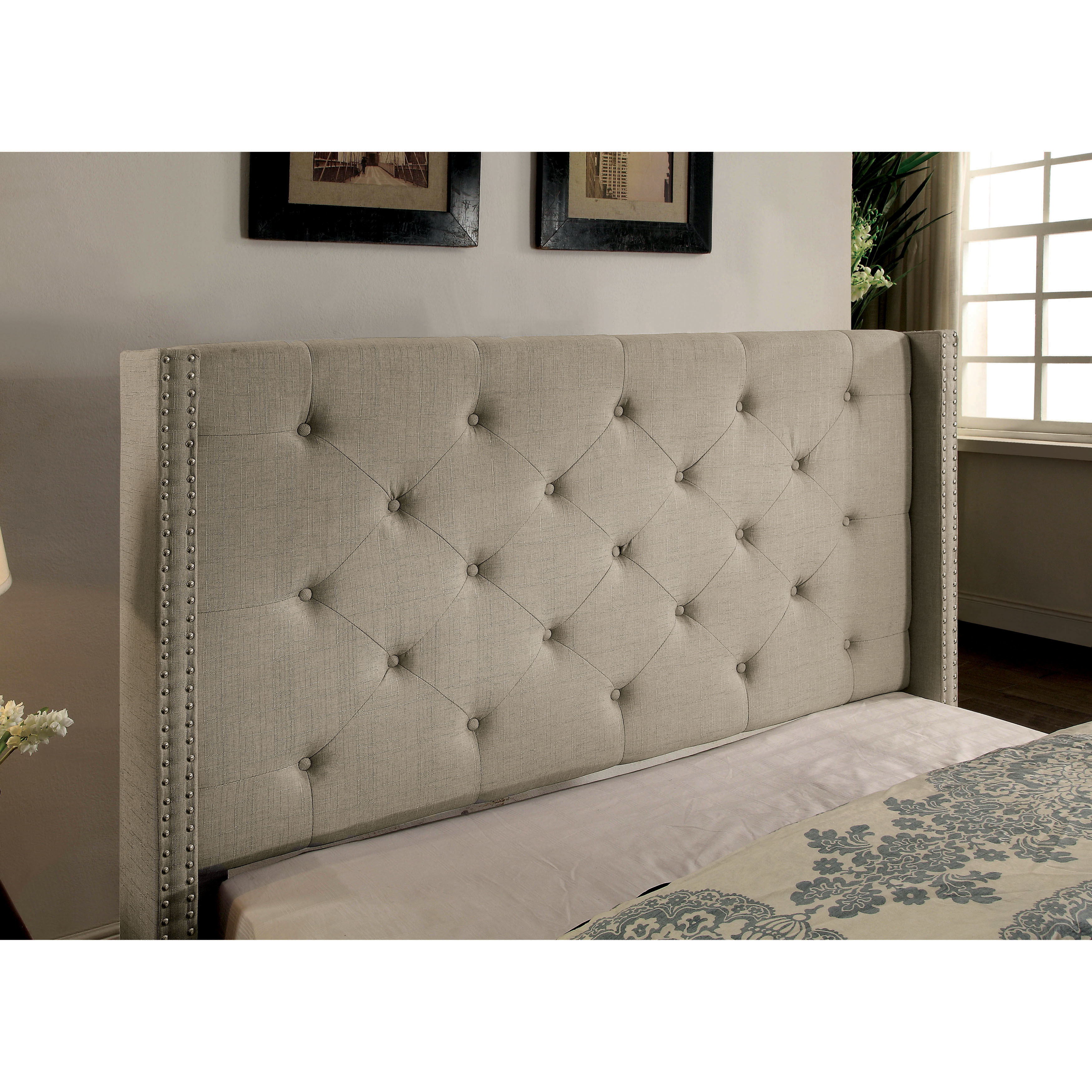 Copper Grove Muir Contemporary Tufted Linen Like Wingback Platform Bed