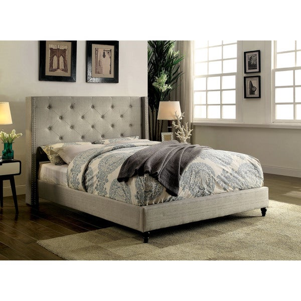 Furniture of America Ralen Contemporary Tufted Linen-like Platform Bed. Opens flyout.