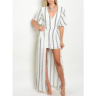 JED Women's Striped V-neck Short Sleeve Skirted Romper