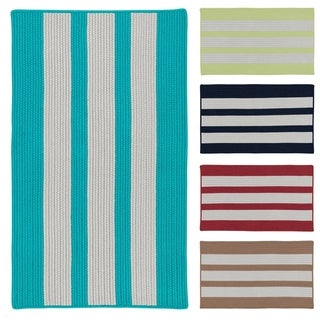 Colonial Mills Coastal Breeze Vertical Stripe Indoor/ Outdoor Reversible Braided Rug (8' x 10')