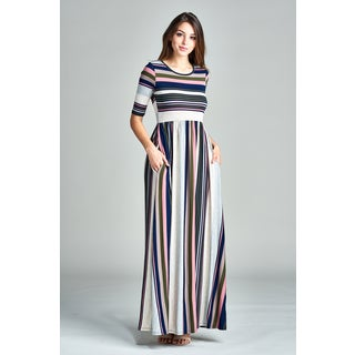 Spicy Mix Aliza Striped Short Sleeved Maxi Dress with Side Slit Pockets