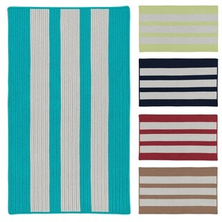 Coastal Breeze Vertical-striped Indoor/ Outdoor Reversible Braided Rug (2'6 x 4'2)