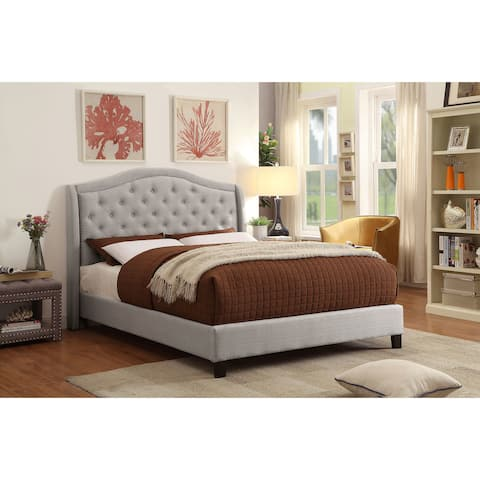 Louvre Queen Platform Wing Bed with Stud Detail