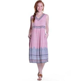 La Cera Women's Sleeveless V-Neck Border Dress