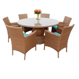 Outdoor Home Bayou Wicker 60-inch Outdoor Patio Dining Table with 6 Chairs (More options available)