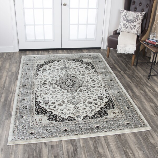 """Zenith Central Medallion Ivory/ Taupe Area Rug - 7'10"""" x 10'10"""""""