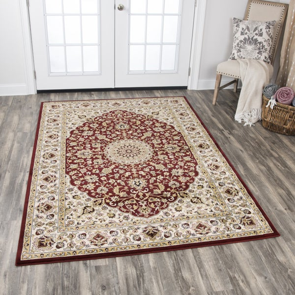 Zenith Traditional Medallion Red Area Rug - 7'10 x 10'10