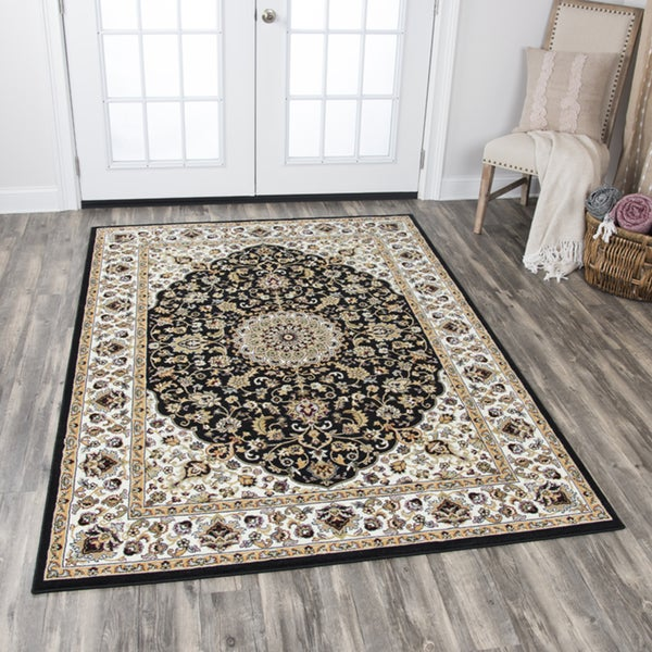 Rizzy Home Zenith Black Medallion Area Rug - 7'10 x 10'10