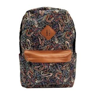 Alfa Bags Black Floral Print Cotton Backpack