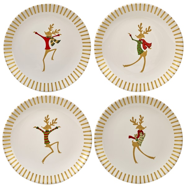 Certified International Gold Dancing Reindeer Set of 4 Dessert Plate