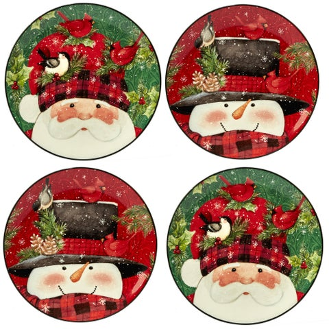 Certified International Winter's Plaid Dessert Plates - Set of 4