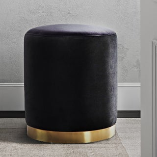 Opal Black Velvet Gold Base Ottoman