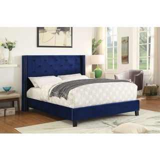 Lino Velvet Queen Platform Bed with Stud Detail