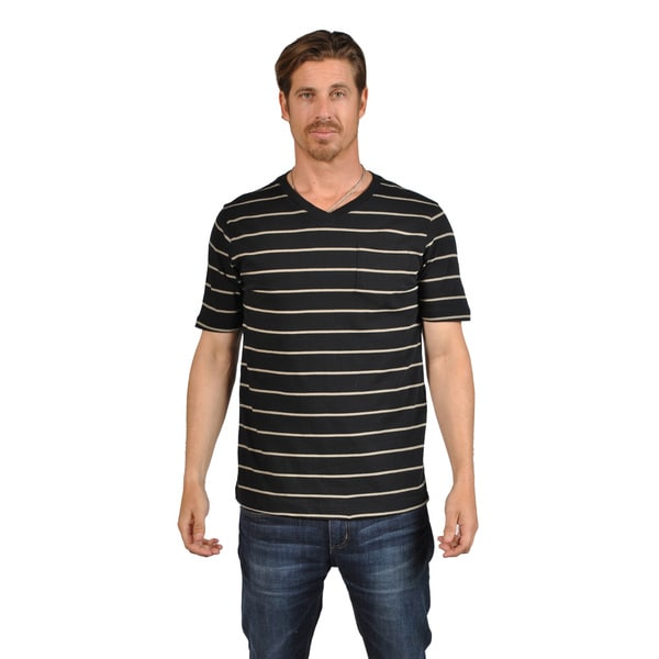 V-Neck White Stripes Mens Shirts