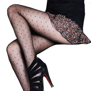 Vecceli Women's 2PK Black Heart Grid Pantyhose