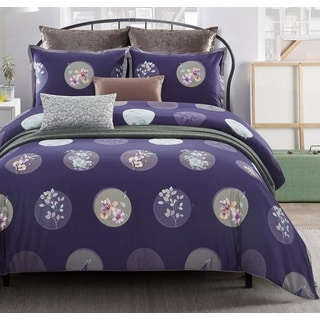 Lavish Night Plum Blossom 7-piece Cotton Duvet Set