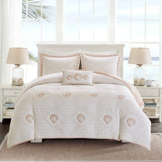 Harbor House Seaside Coral Cotton Percale Coverlet Set with Embroidery
