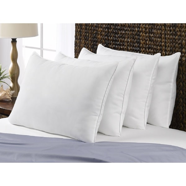 Poly-Cotton Down Alternative Soft Standard-Size Pillow (Set of 4) - Best for Stomach Sleepers - White