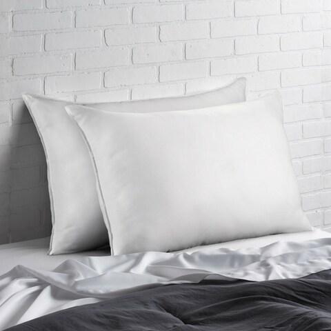 Ella Jayne Home Collection Signature Plush Allergy Resistant Down Like Fiber Pillow Medium - Set of Two - White