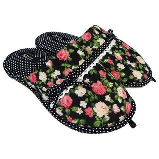 Vecceli Women FlowerTop Polka Dotted Blue Slippers Model VE-36