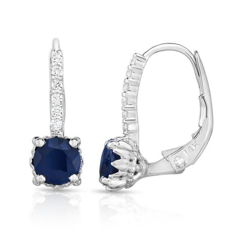Noray Designs 14K White Gold Blue Sapphire, Ruby or Emerald & Diamond (0.08 Ct, G-H Color, SI2-I1 Clarity) Leverback Earrings