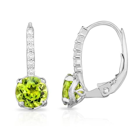 Noray Designs 14K White Gold London Blue Topaz or Peridot & Diamond (0.08 Ct, G-H Color, SI2-I1 Clarity) Leverback Earrings