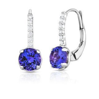 Noray Designs 14K White Gold Tanzanite & Diamond (0.08 Ct, G-H Color, SI2-I1 Clarity) Leverback Earrings