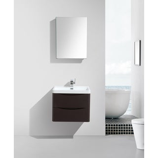 Eviva Smile Chestnut 24-inch Modern Bathroom Vanity Set With Integrated White Acrylic Sink