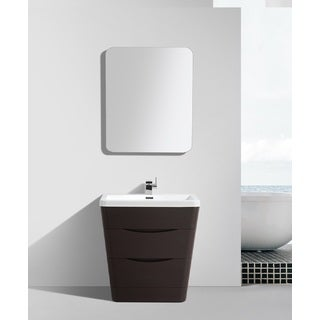 Eviva Victoria Chestnut 32-inch Modern Bathroom Vanity With Integrated White Acrylic Sink