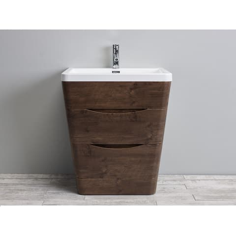 Eviva Victoria Rosewood 32-inch Modern Bathroom Vanity With White Integrated Acrylic Sink