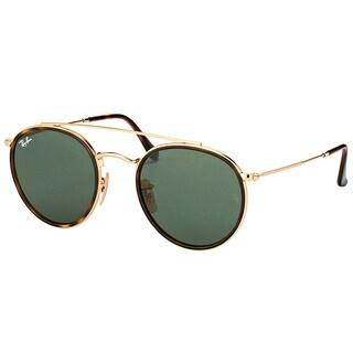 Ray-Ban RB 3647N 001 Round Double Bridge Gold Havana Metal Round Sunglasses Green Lens