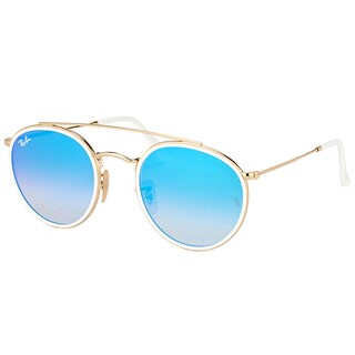 Ray-Ban RB 3647N 001/4O Round Double Bridge Gold White Metal Round Sunglasses Blue Mirror Lens