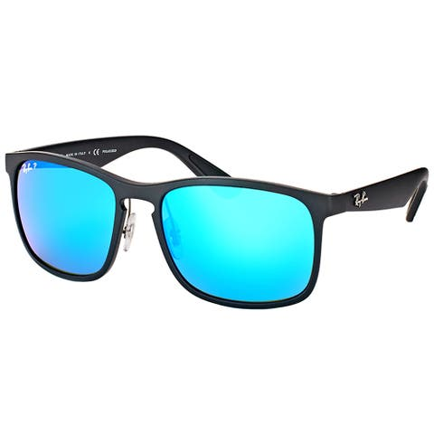 96b0c6d803b64c Ray-Ban RB 4264 601SA1 Matte Black Plastic Square Sunglasses Blue Flash  Polarized Chromance Lens