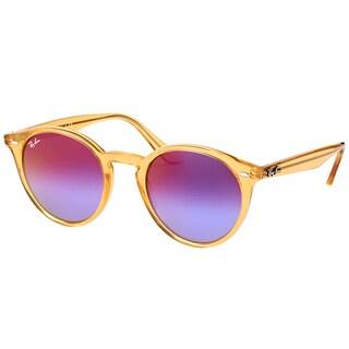 Ray-Ban RB 2180 6277B1 Shiny Yellow Plastic Round Sunglasses Blue Violet Mirror Lens