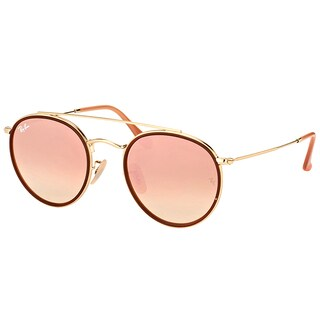 Ray-Ban RB 3647N 001/7O Round Double Bridge Gold Red Metal Round Sunglasses Pink Mirror Lens