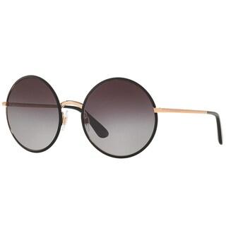 Dolce & Gabbana DG 2155 12968G Matte Black Metal Round Sunglasses Grey Gradient Lens