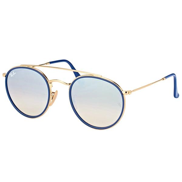 eceb6416f9129 Ray-Ban RB 3647N 001 9U Round Double Bridge Gold Blue Metal Round Sunglasses