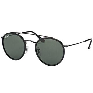 Ray-Ban RB 3647N 002/58 Round Double Bridge Black Metal Round Sunglasses Green Polarized Lens
