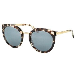 Dolce & Gabbana DG 4268 28886G Cube Havana Fog Plastic Round Sunglasses Silver Mirror Lens