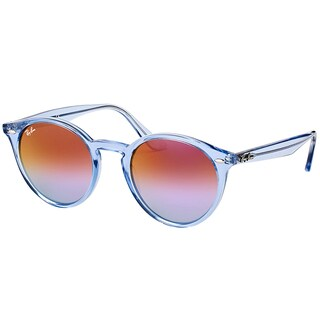 Ray-Ban RB 2180 6278A9 Shiny Light Blue Plastic Round Sunglasses Blue Violet Mirror Lens